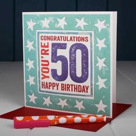 'Happy 50th' Birthday Card