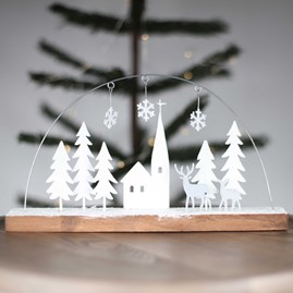 Hand Painted Church And Forest Winter Scene