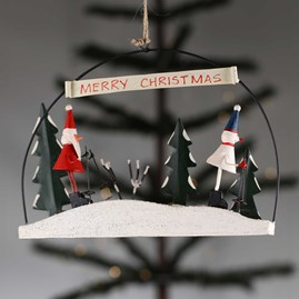Santa And Snowman Skiing Scene