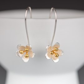 Solid Silver And Gold Saxifrage Earrings