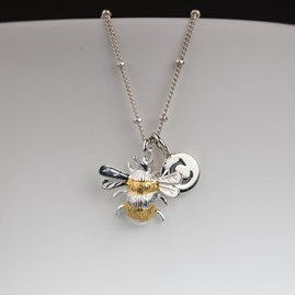Personalised Solid Silver And Gold Bumble Bee Necklace