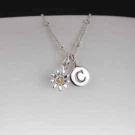 Personalised Silver And Gold Petite Daisy Necklace