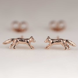 Rose Gold Fox Stud Earrings