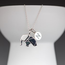 Personalised Solid Silver Origami Elephant Necklace