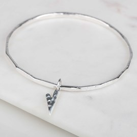 Solid Silver Elongated Hammered Heart Bangle