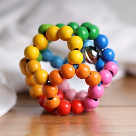 Wooden Baby Bead Ball Rattle