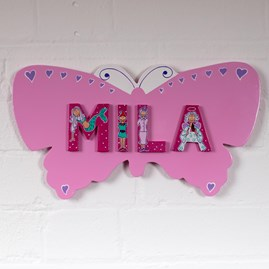 Wooden Pink Butterfly Name Plaque