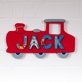 Wooden Red Train Name Plaque