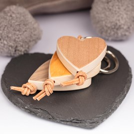 Handmade Maple Wood Heart Key Ring