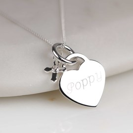 Engraved Silver Heart Necklace With Christening Cross
