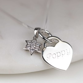 Engraved Silver Heart Necklace With Star