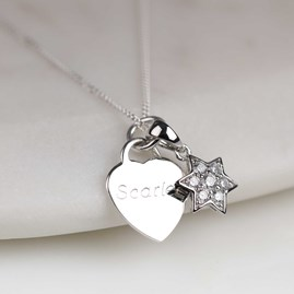 Personalised Children's Heart And Star Necklace
