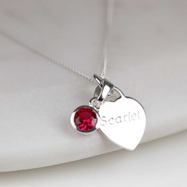Personalised Children's Heart And Birthstone Necklace
