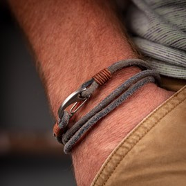 Men's Suede Leather Double Wrap Bracelet