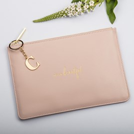 Katie Loxton Personalised 'Hello Beautiful' Perfect Pouch In Dusty Pink