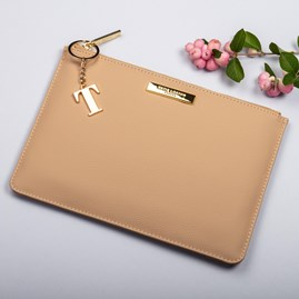 Katie Loxton Personalised Pebble Perfect Pouch In Tan
