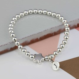 Personalised Tess Silver Star Bracelet
