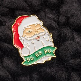 'Ho Ho Ho' Santa Claus Christmas Pin Badge