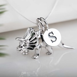 Personalised Solid Silver Triceratops Necklace
