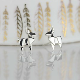 Stunning Silver Origami Stag Earrings