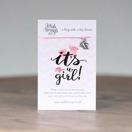 'It's A Girl' Tiny Feet Wish Bracelet