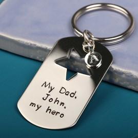 Personalised 'My Dad, My Hero' Keyring
