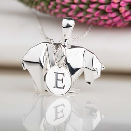 Personalised Silver Origami Polar Bear Necklace