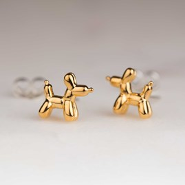 Gold Balloon Dog Stud Earrings