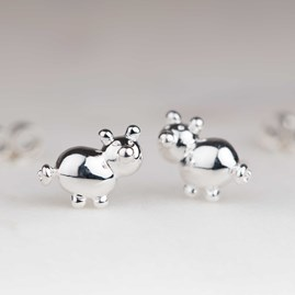 Solid Silver Balloon Pig Stud Earrings