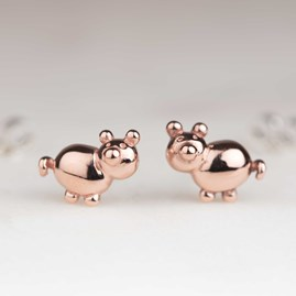 Rose Gold Balloon Pig Stud Earrings
