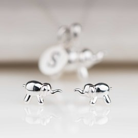 Solid Silver Balloon Elephant Stud Earrings