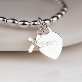 Personalised Children's Christening Cross Bracelet