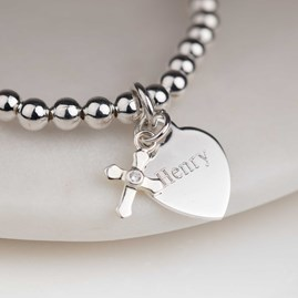 Personalised Children's Christening Cross Bead Bracelet