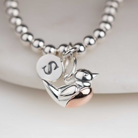Personalised Silver And Rose Gold Robin Bracelet