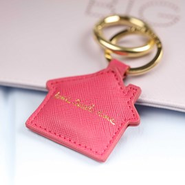 'Home Sweet Home' Pink House Keyring