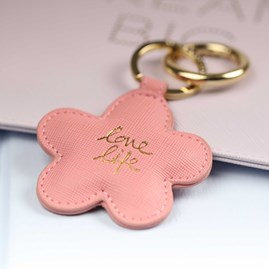 'Love Life' Pale Pink Daisy Keyring
