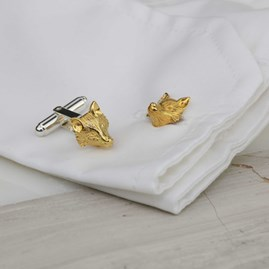 Sculpted Fox Cufflinks In Solid Silver, Gold Or Rose Gold