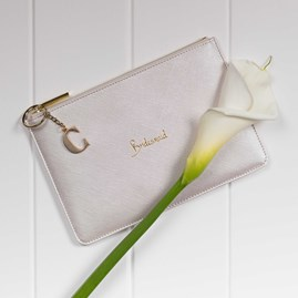 Katie Loxton Personalised 'Bridesmaid' Metallic Champagne Pouch