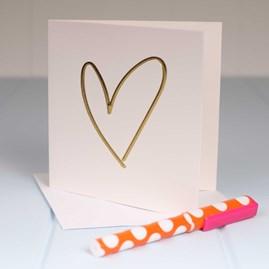 Embossed Golden Heart Greetings Card