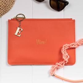 Katie Loxton Personalised 'Wow' Orange And Gold Perfect Pouch