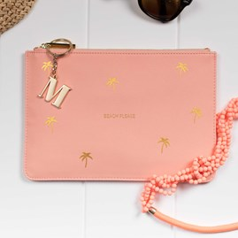 Katie Loxton Personalised 'Beach Please' Coral Perfect Pouch