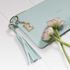 Personalised 'Love Life' Keepsake Clutch In Powder Mint