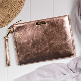 Katie Loxton Personalised Luxe Sparkly Rose Gold Evening Clutch Bag