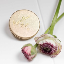 'Marvellous Mum' Compact Mirror In Metallic Gold