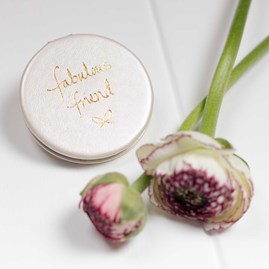 'Fabulous Friend' Compact Mirror In Metallic Silver