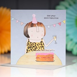 'One Year More Fabulous' Greetings Card