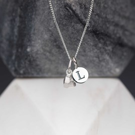 Personalised Solid Silver Faceted Heart Pendant