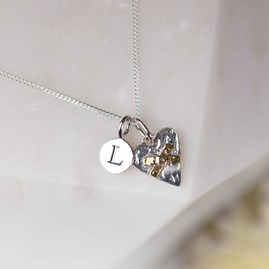 Personalised Silver Heart With Bow Pendant