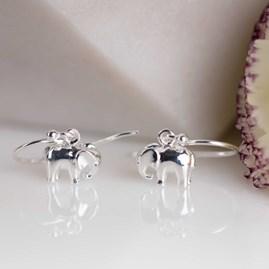 Solid Silver Elephant Earrings
