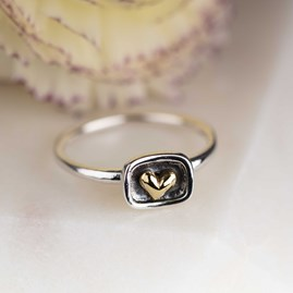 Silver Framed Heart Ring